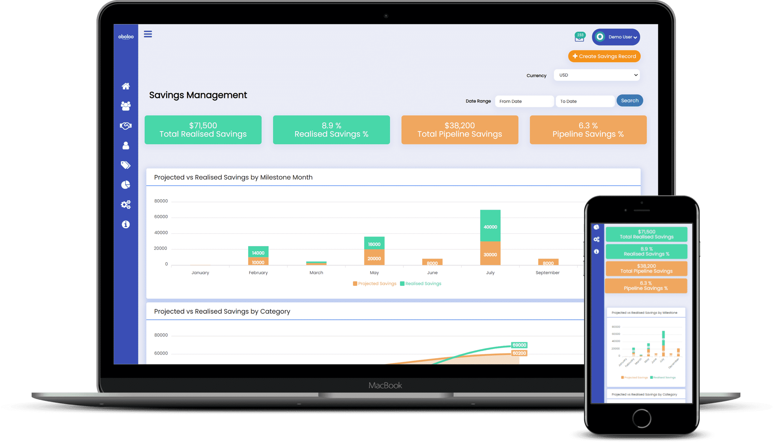 oboloo savings management home page